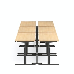 "Series L Desk for 6 + Boom Power Rail, Natural Oak, 57"", Charcoal Legs"