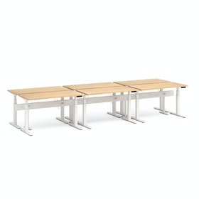 "Series L Desk for 6 + Boom Power Rail, Natural Oak, 57"", White Legs"