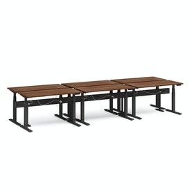 """Series L Desk for 6 + Boom Power Rail, Walnut, 57"""", Charcoal Legs"""