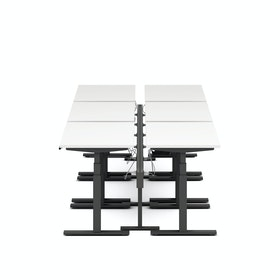 "Series L Desk for 6 + Boom Power Rail, White, 47"", Charcoal Legs,White,hi-res"