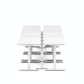 Series L Desk for 6 + Boom Power Rail, White Legs