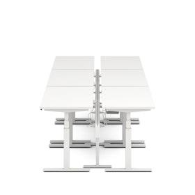 """Series L Desk for 6 + Boom Power Rail, White, 57"""", White Legs,White,hi-res"""