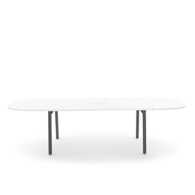 "Series A Scale Racetrack Conference Table, White, 114x60"", Charcoal Legs"