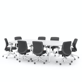 "Series A Scale Racetrack Conference Table, White, 114x60"", White Legs"