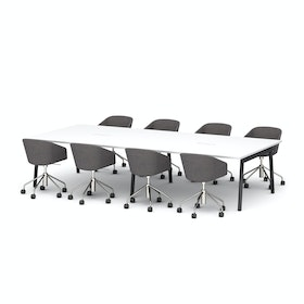 "Series A Scale Rectangular Conference Table, White, 132x60"", Charcoal Legs"