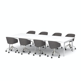 "Series A Scale Rectangular Conference Table, White, 132x60"", White Legs"