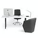 "Series A Executive Desk,  White, 72"" x 36"", Charcoal Legs,White,hi-res"