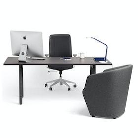 "Series A Executive Desk, Dark Oak, 72"" x 36"", Charcoal Legs,Dark Oak,hi-res"