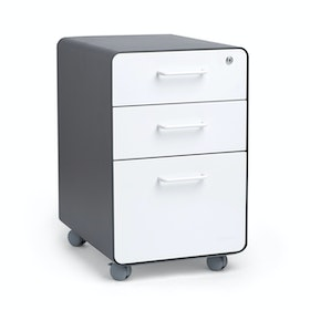 Charcoal + White Stow 3-Drawer File Cabinet, Rolling, Fully Loaded,White,hi-res