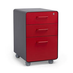 Charcoal + Red  Stow 3-Drawer File Cabinet, Rolling, Fully Loaded,Red,hi-res