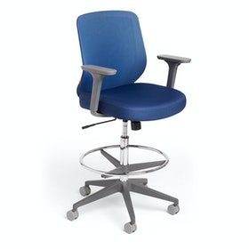 Navy Max Drafting Chair, Mid Back, Charcoal Frame,Navy,hi-res
