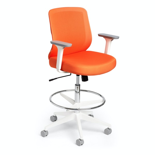 Orange Max Drafting Chair, Mid Back, White Frame,Orange,hi-res