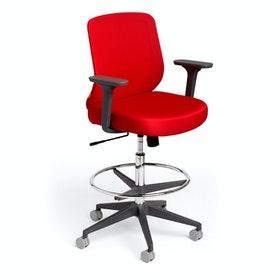 Red Max Drafting Chair, Mid Back, Charcoal Frame,Red,hi-res