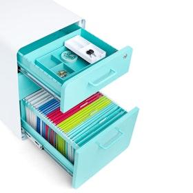 White + Aqua Stow 3-Drawer File Cabinet, Rolling, Fully Loaded,Aqua,hi-res