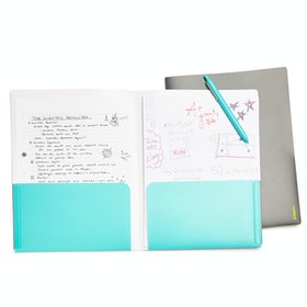 Pink + Aqua 2-Pocket Poly Folder,Pink,hi-res