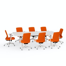 Ping-Pong Conference Table + 8 Mid Back Task Chairs, Orange,Orange,hi-res