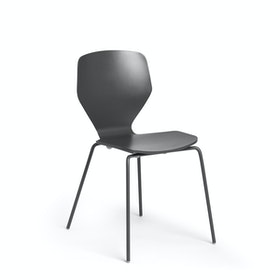 Charcoal Groove Stacking Side Chairs, Set of 2,Charcoal,hi-res