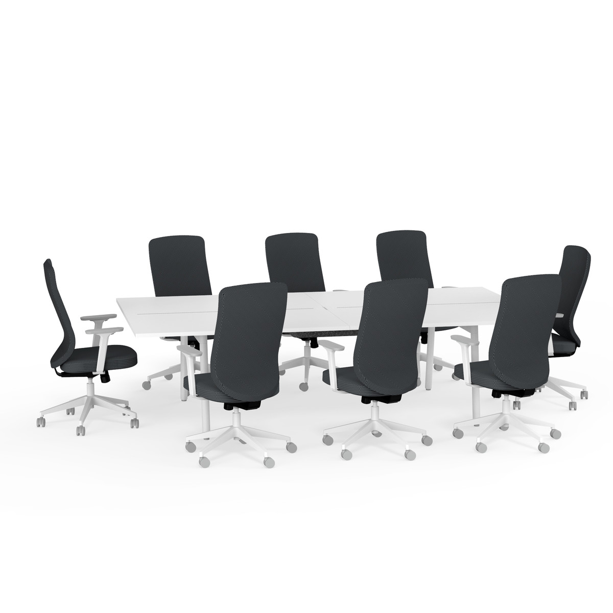 ping pong conference table 8 high back task chairs dark gray
