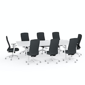 Ping-Pong Conference Table + 8 High Back Task Chairs, Dark Gray