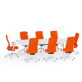 Ping-Pong Conference Table + 8 High Back Task Chairs, Orange,Orange,hi-res