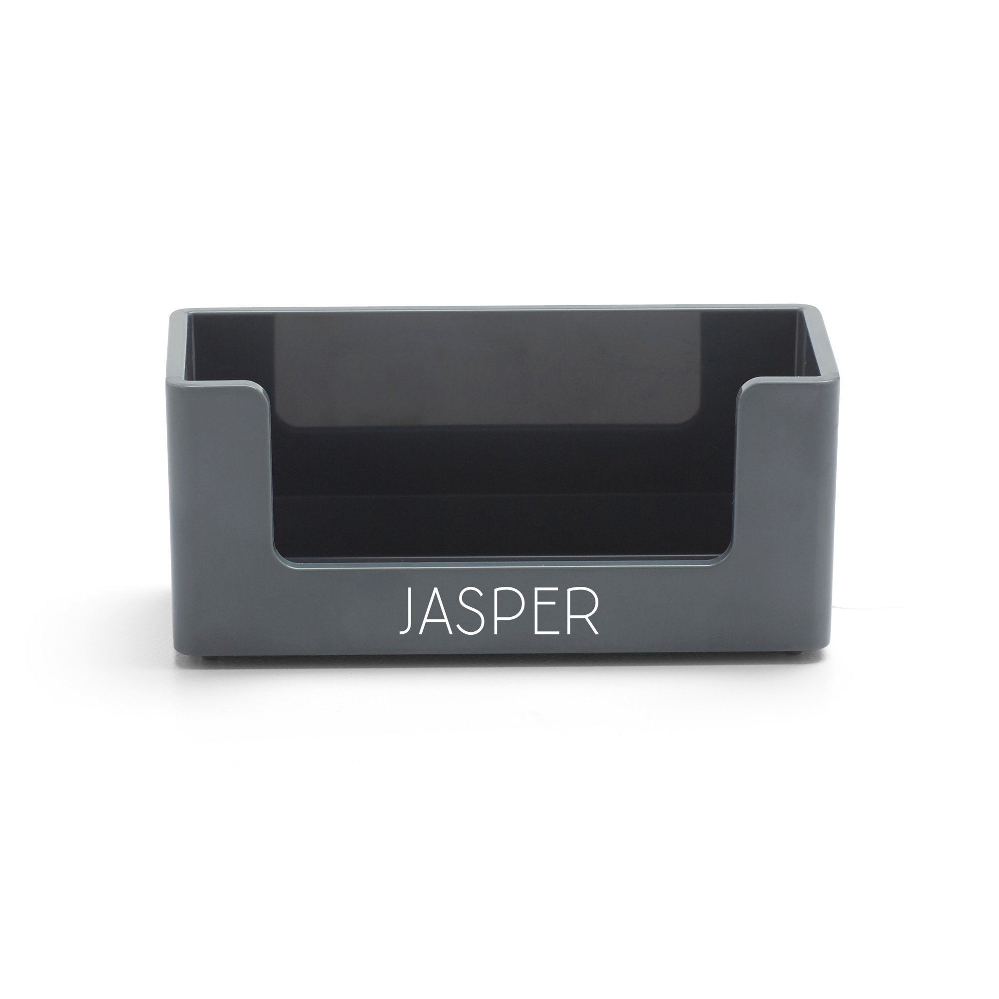 Custom Dark Gray Business Card Holder | Desk Accessories| Poppin