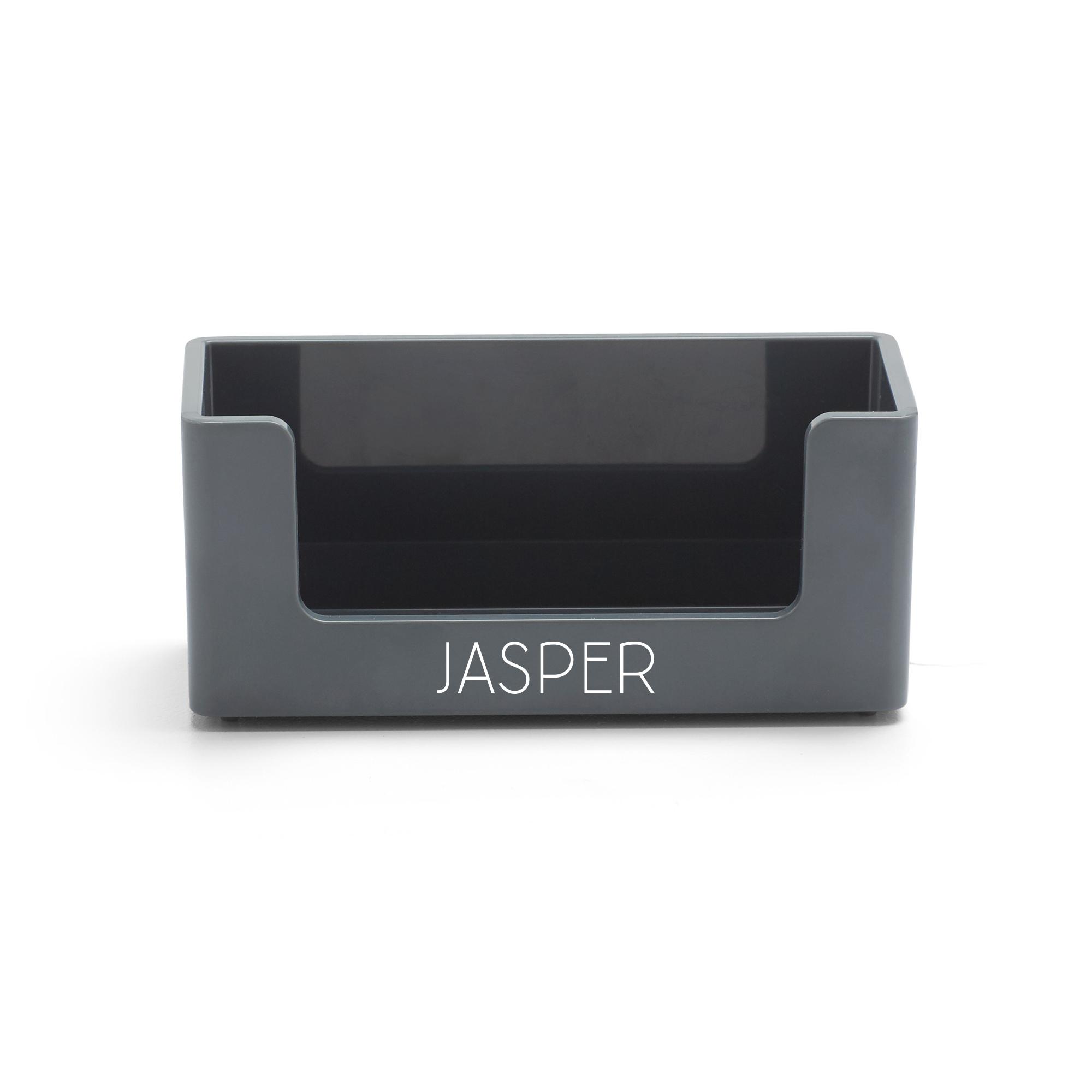 Custom dark gray business card holder desk accessories poppin custom dark gray business card holderdark grayhi res loading zoom colourmoves