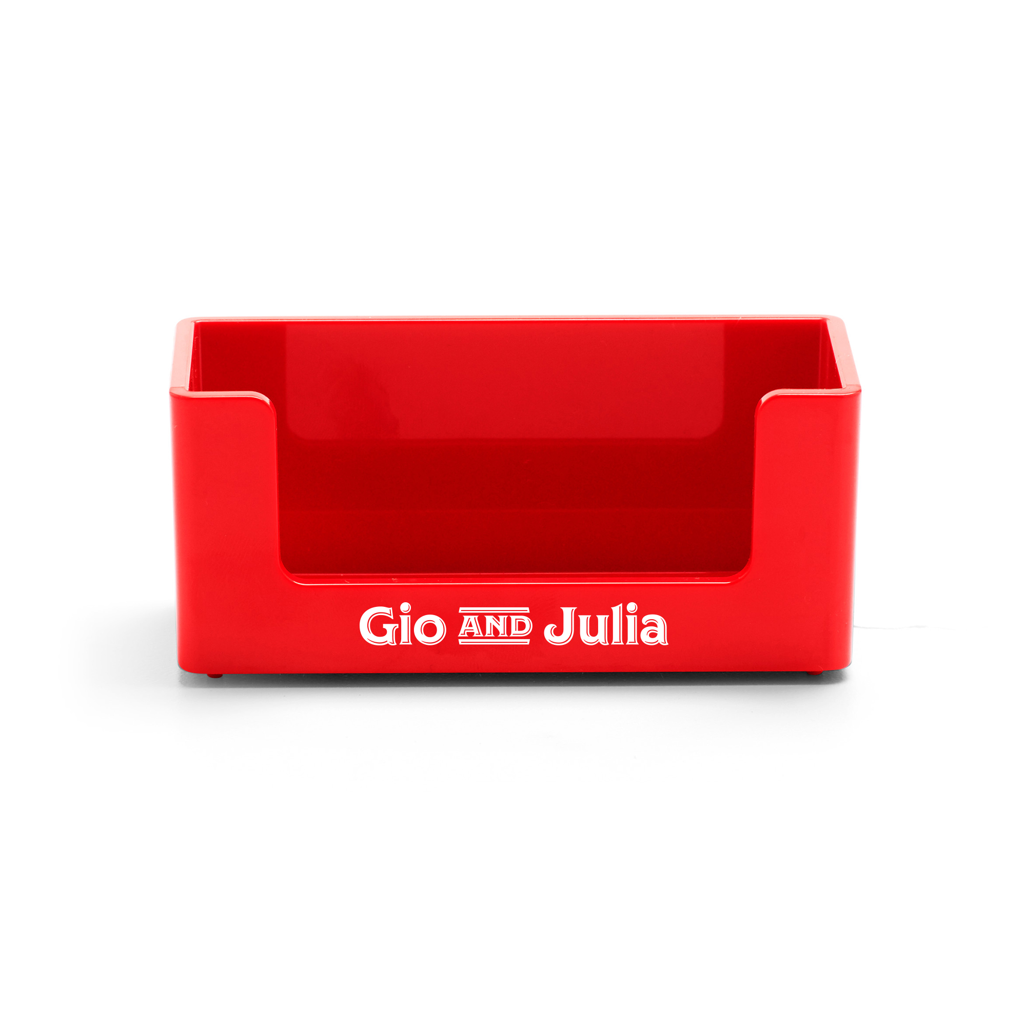 Custom Red Business Card Holder | Desk Accessories| Poppin