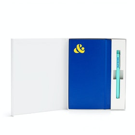 Custom Cobalt Soft Cover Gift Box Set, Aqua Retractable Gel Luxe Pen,Cobalt,hi-res