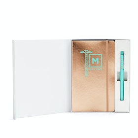 Custom Copper Soft Cover Gift Box Set, Aqua Retractable Gel Luxe Pen,Copper,hi-res