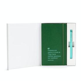 Custom Hunter Green Soft Cover Gift Box Set, Aqua Retractable Gel Luxe Pen,Hunter Green,hi-res