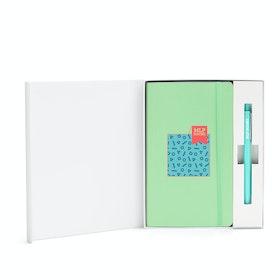 Custom Mint Soft Cover Gift Box Set, Aqua Retractable Gel Luxe Pen,Mint,hi-res