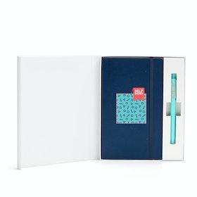 Custom Navy Soft Cover Gift Box Set, Aqua Retractable Gel Luxe Pen,Navy,hi-res