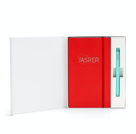 Custom Red Soft Cover Gift Box Set, Aqua Retractable Gel Luxe Pen,Red,hi-res