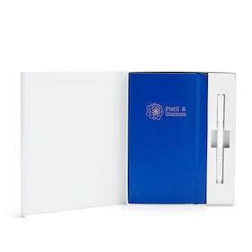 Custom Cobalt Blue Soft Cover Gift Box Set, White Metal Pen,Cobalt,hi-res