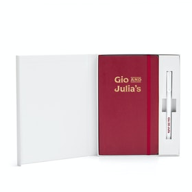 Custom Crimson Soft Cover Gift Box Set, White Metal Pen,Crimson,hi-res