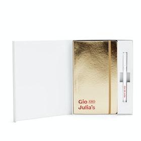 Custom Gold Soft Cover Gift Box Set, White Metal Pen,Gold,hi-res