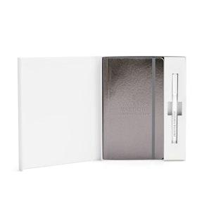 Custom Gunmetal Soft Cover Gift Box Set, White Metal Pen,Gunmetal,hi-res