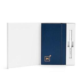 Custom Navy Soft Cover Gift Box Set, White Metal Pen,Navy,hi-res