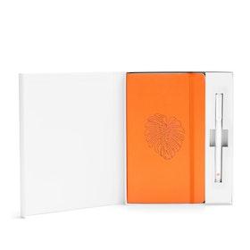 Custom Orange Hard Cover Gift Box Set, White Metal Pen,Orange,hi-res