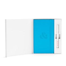 Custom Pool Blue Soft Cover Gift Box Set, White Metal Pen,Pool Blue,hi-res
