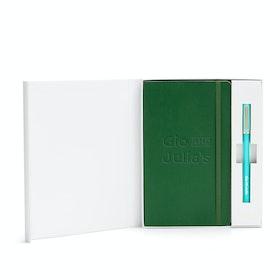 Custom Hunter Green Soft Cover Gift Box Set, Aqua Tip-Top Pen,Hunter Green,hi-res