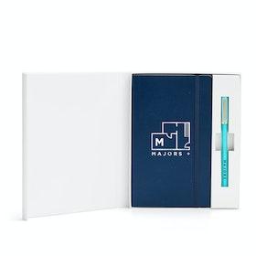 Custom Navy Soft Cover Gift Box Set, Aqua Tip-Top Pen,Navy,hi-res