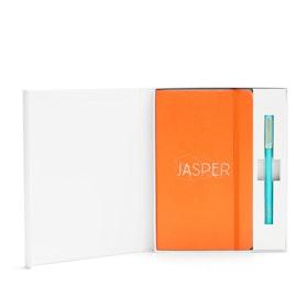 Custom Orange Soft Cover Gift Box Set, Aqua Tip-Top Pen,Orange,hi-res