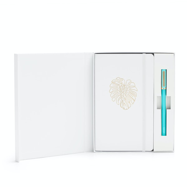 Custom White Soft Cover Gift Box Set , Aqua Tip-Top Pen,White,hi-res