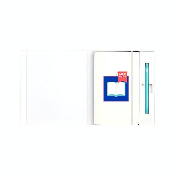 Custom White Soft Cover Gift Box Set, Aqua Retractable Gel Luxe Pen,,hi-res