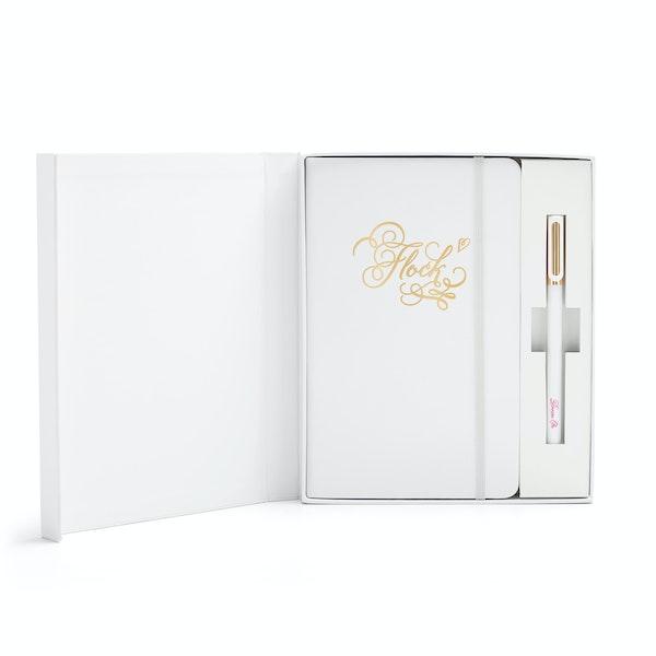 Custom White Hard Cover Gift Box Set, White Tip-Top Pen,,hi-res