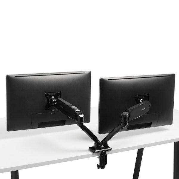 Black Dual LCD Monitor Arm,,hi-res