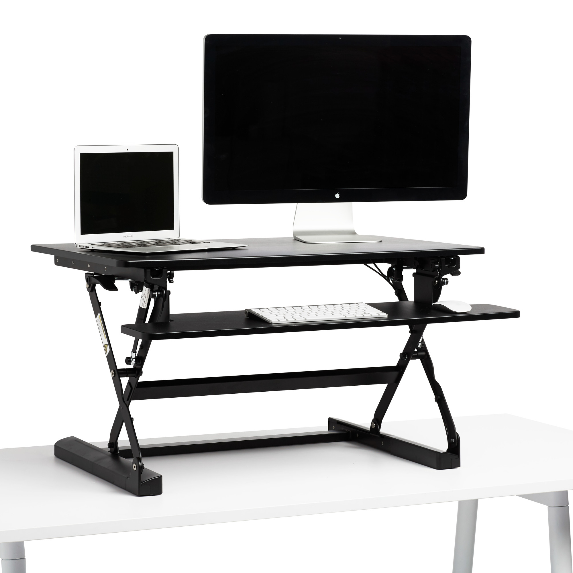 black medium peak adjustable height standing desk riser rh poppin com adjustable height standing desk reviews adjustable height standing desk riser