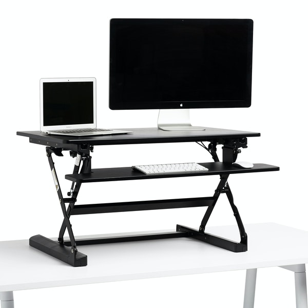 Black Medium Peak Adjustable Height Standing Desk Riser,Black,hi-res