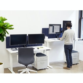 Loft Adjustable Height Standing Single Desk Light Oak 57